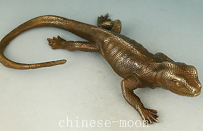 Chinese Old Bronze Handmade Carved Gecko Statue Ornament