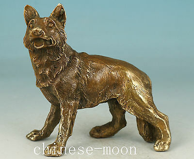 Chinese Old Bronze Handmade Carved Wolf Statue Home Ornament