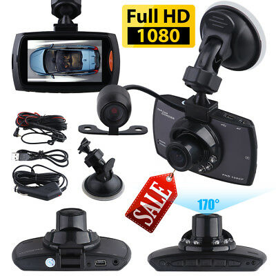 "2.4"" 1080P Dual Lens CAR DVR Dash Cam Video Recorder Night Vision + Rear Camera"