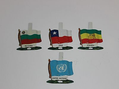 Vintage LOT of 4 NABISCO TIN COUNTRY FLAGS UNITED NATIONS