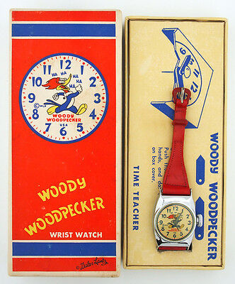 1950's Woody Woodpecker DeLux Round Character Watch in Original Box Walter Lantz