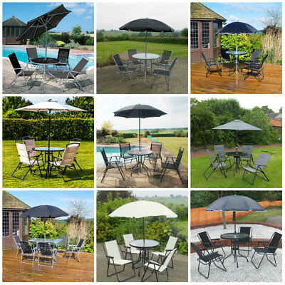 Garden Patio Furniture Set 4/6 Seat Dining Set Parasol Glass Table And Chairs UK