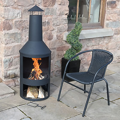 Extra Large 135cm Garden Chimenea Fire Pit Patio Heater Outdoor Log Burner Black