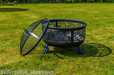 New Decorative Floral Design Open Heat Garden Fire pit Bowl Patio Heater Brazier