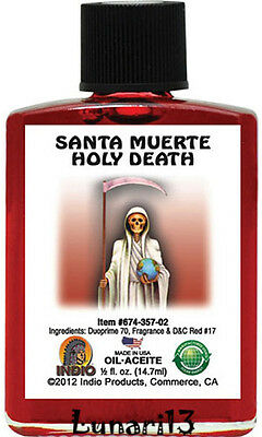 Holy Death, Santa Muerte, Red, Oil, Indio Products, 1/2 oz, Lunari13, Spells