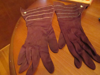 Vintage brown  cuffed linen and nylon gloves made in czechoslovikia