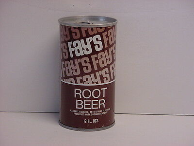 Vintage Fay's Root Beer Straight Steel Pull Tab Bottom Opened Soda Can