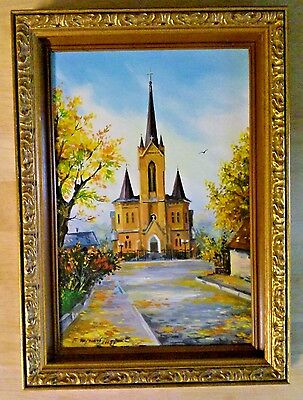 Framed Original Oil Painting of a Church / Cathedral Signed by the Artist