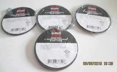 """Morris 4"""" Round Weather Proof  Blank Cover #36850 Gray Set of 4"""
