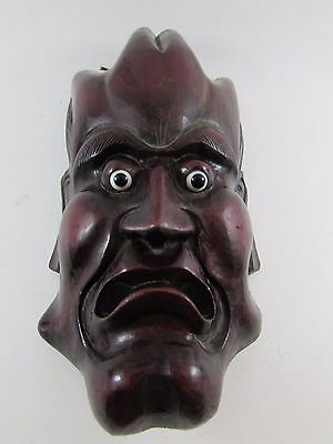 Antique China Chinese God Devil Man Face Carved Wood Wall Mask Glass Eyes Nice