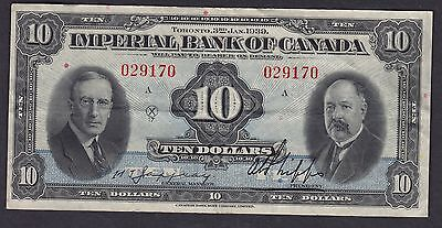 1939 Imperial Bank of Canada $10 Small Size Chartered Note #029170/A