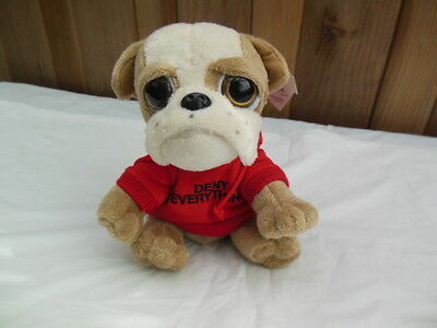 """STUFFED BULLDOG in RED """"DENY EVERYTHING """"HOODIE ~~ NEW with TAG"""