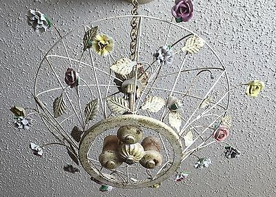 Old Vtg Antique Shabby Chic Floral Hanging Chandelier Metal Wire  Japan Glass