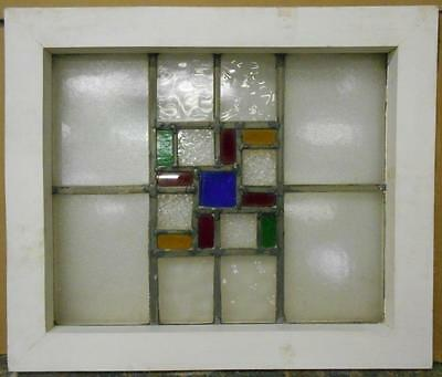 "OLD ENGLISH LEADED STAINED GLASS WINDOW Symetric Geometric 19.75"" x 16.75"""