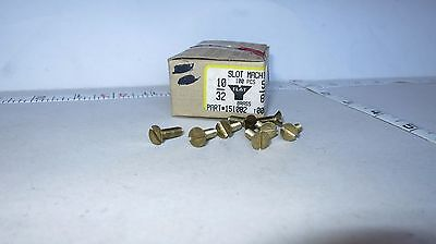 "10/32 x 5/8"" Brass Machine Screw Slotted Flat Head Lot of 100 NOS 10-32"
