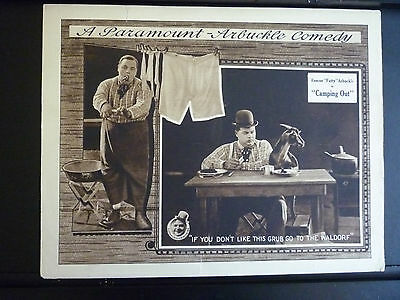 1919 Camping Out - Silent Comedy Lobby Card - Directed Starring Fatty Arbuckle