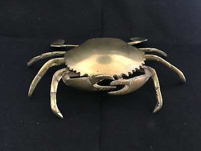 "Old Vtg Brass Crab W/ Legs Cigarette Cigar Ashtray 7 1/2"" x 3 1/2"""