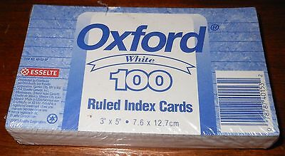 """Pack Of 100 Oxford White 3"""" x 5"""" Ruled Index Cards-New"""