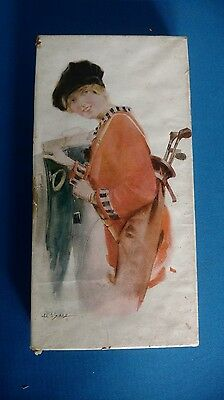 "ANTIQUE Vintage ""Earl Christy"" Type Lithograph Print Handkerchief Box golf"