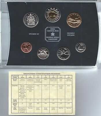 1999 Royal Canadian Mint 7 Coin Specimen Set With Case Box And Coa