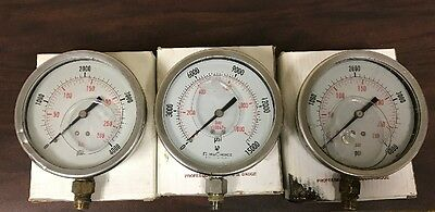 "Lot of 3 - 4.0"" Professional Pressure Gauges - (2) 4000psi & (1) 15000psi"