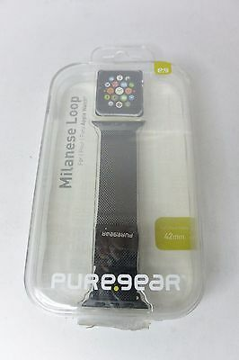 PureGear 42mm Milanese Loop Watch Band BLACK for Apple Watch