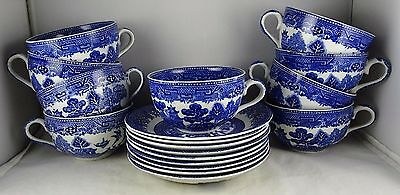 9 Adams & Sons China Blue Willow Cup & Saucer Sets