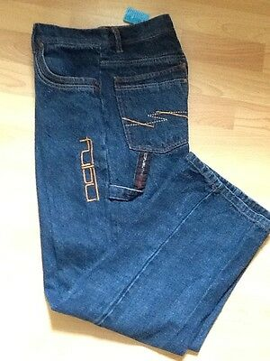 New Auth FUBU Dark Jeans Size 27x27 Embelished Painter Carpenter Jeans Size 14