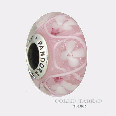 Authentic Pandora Silver Murano Pink Field of Flowers Bead 791665 *SPRING 2017