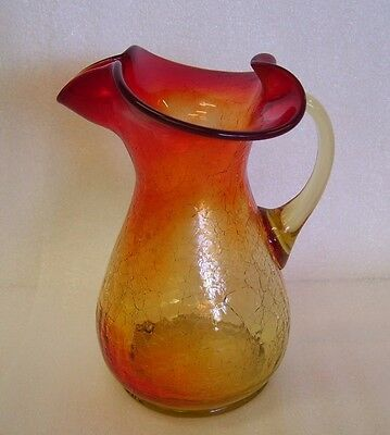 Vintage Amberina Crackle Glass Pitcher Vase Hand Blown Art Glass