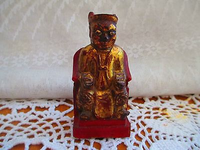 Chinese Hand Carved Wood Figure w/gold paint