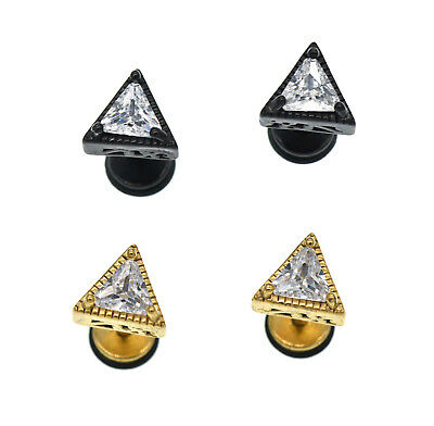 Stainless Steel Triangle Crystal Stud Mens Womens Screw Back Earring