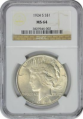 1924-S Peace Dollar MS64 NGC Mint State 64