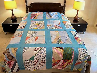 Vintage FULL Quilt TOP, Crazy Rectangles, Shirting & Other Cotton Printed Scraps