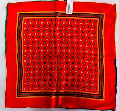 Dion Mens Oversized Red Blue Green Yellow Silk Handkerchief Retail $52 NWT
