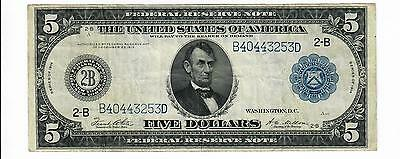 1914 Five Dollar $5 Federal Reserve Note Blue Seal Fr. 851A Ch Vf