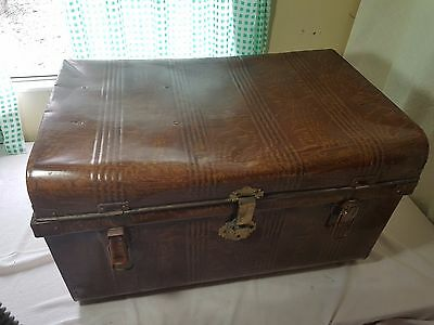Vintage Industrial Old Large Brown Metal Tin Chest Trunk Storage Box.