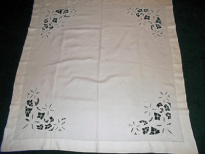 "Vintage White Linen Tablecloth 44"" x 43"" Hand Emb Cut Work"
