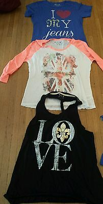 NEW Miss Me T Shirts tanks tees Long Sleeve assorted styles LOT OF 3. Sz: L