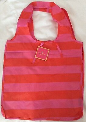 Nwt Kate Spade Nylon Reusable Pink Red Rugby Stripe Shopping Tote Bag