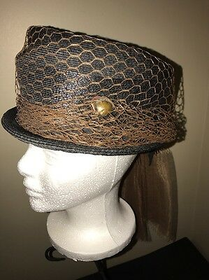 Vintage Saks Fifth Avenue Womens Hat Black Hat With Brown Netting And Rose Pin