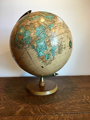 """12"""" Cram's Imperial World Globe~ Tan Color, Wood Base~ Great Look!!!!"""
