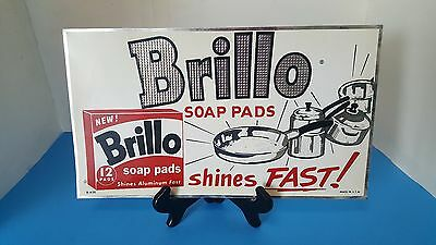 Vintage Embossed 1950's Brillo Soap Pads Tin Kitchen Gas Oil Advertising Sign