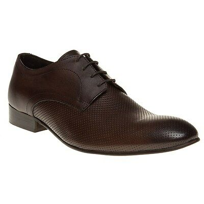 New Mens Base London Brown Statement Perf Leather Shoes Lace Up