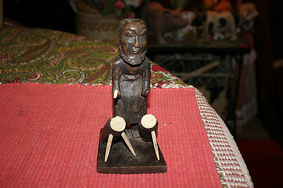 Vintage African Wood Carving-Tribal Man Figure Playing Drums-Small Size Carving
