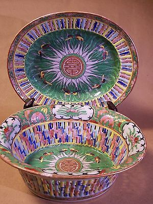 Antique Chinese Export Bowl & Tray  Porcelain Cabbage Leaf Authentic Period