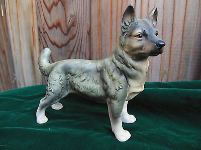Vintage Porcelain Gray & White Siberian Husky Dog Figurine ~ Excellent Condition