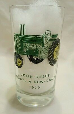Vintage John Deere 1939 Model A Tractor Glass Tumbler Advertising Logo Glass