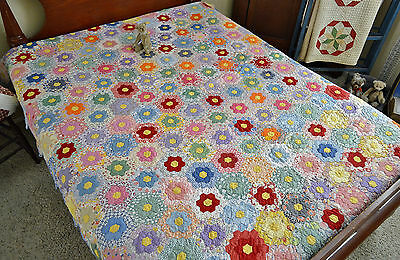 Spectacular Antique Hand Stitched Grandmothers Garden Colorful Quilt *