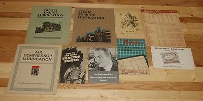 9 Piece Vintage Lot Of Industrial Manuals, Stamp Book, Car Manual, Raybestos